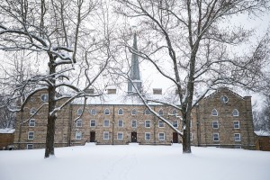 Old Kenyon residence hall in snow