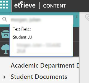Etrieve screenshot of searching for a student
