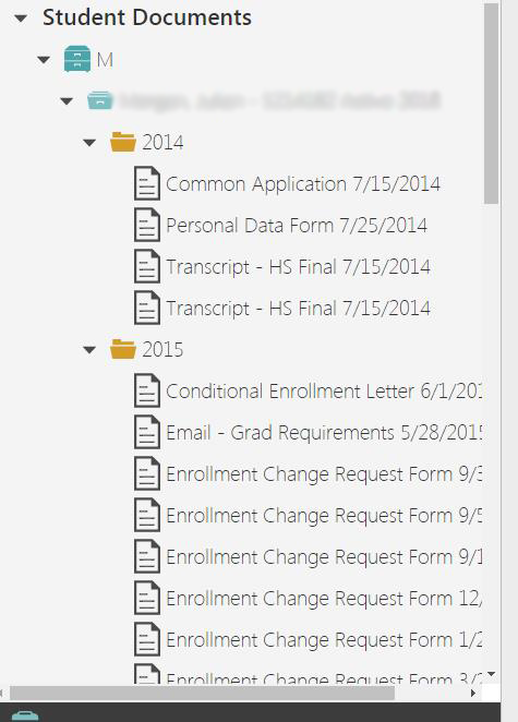 Screenshot of student documents list in Etrieve