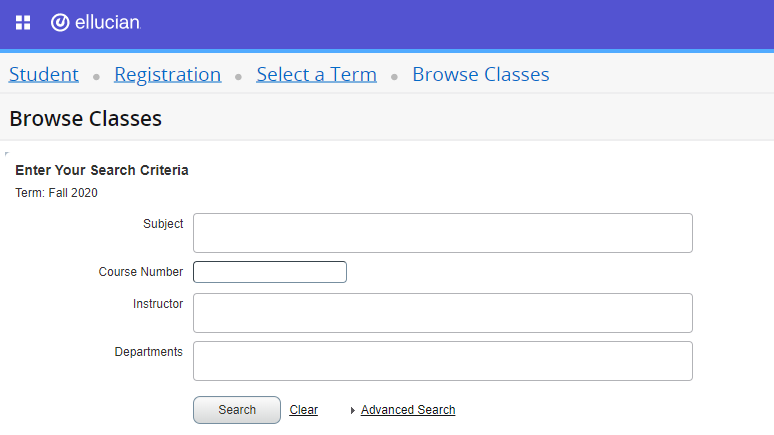 Screen shot showing browse search fields